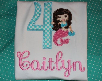 Mermaid 4th birthday tshirt, bodysuit, raglan tee, or ruffle dress- any number you choose colors