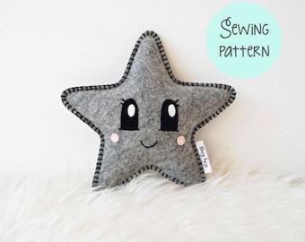 Star softie pattern, learn to sew, plush pattern, Star Pillow Sewing Pattern, kawaii sewing pattern, easy sewing pattern, kawaii plush, star