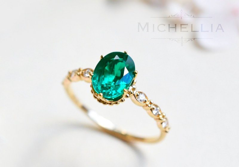 Vintage Inspired Oval Ring in Lab Emerald Emerald Oval