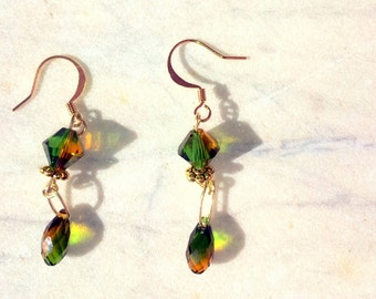 Dangle Earrings with Green & Topaz Swarovski Crystals