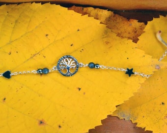 Bracelet with  silver chain and Tree of Life charm from oxidized silver• Silver bracelet • Christmas gift • Daily outfit