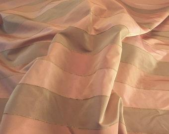 Peach Taffeta - Peach and Bronze Taffeta Stripe Faux Silk - Tone-on-tone Silk Peach Coral - 1 yard Print Fabric