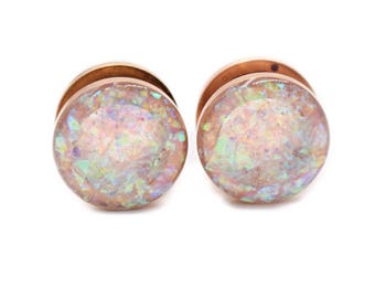 Frosted Holographic shown on Rose Gold Plugs / 16g, 10g, 8g, 6g, 4g, 2g, 0g, 00g, 7/16, 1/2, 9/16, 5/8, 11/16, 3/4, 7/8, 1in / Rose Gauges