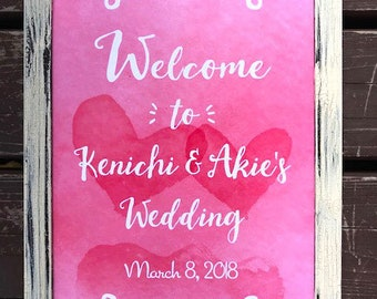 Custom Printable Watercolor Wedding Sign - A4, Hearts, Pink