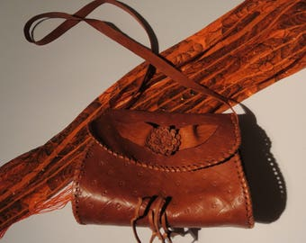 Brown leather - Moroccan leather shoulder bag