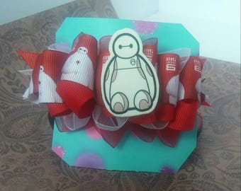 Baymax from Big Hero Six Multi Layer French Clip 5 inch Hair Bow