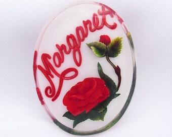 Reverse Carved Lucite Name Tag Brooch, Margaret Pin with Roses, Vintage Jewelry Gifts for Her
