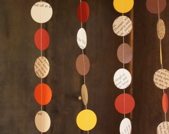 Paper Garland, Confetti Garland, Book Pages, Fall Decoration, Autumn Colours, 10 feet long, Made to order - SMALL dots