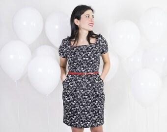 Tulip dress - Vintage sheath dress - Square neck dress - Black and white retro dress - Floral cotton dress - Summer dress with short sleeves