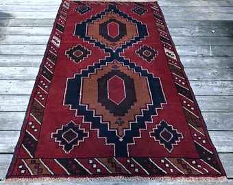 Geometric Tribal Rug Baluch Hand Knotted Wool Area Rug Eclectic Bohemian / Southwest Decor