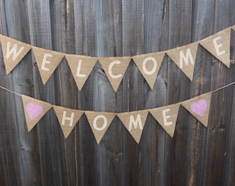 Customisable Burlap / Hessian WELCOME HOME banner. Photo Prop