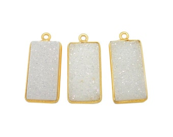 White Shimmer Rectangle Druzy Pendant - 9mm x 20mm - Gold Plated Titanium Treated Druzy Bezel (S17B6-02)