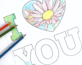 hearts and flowers, three valentine coloring pages, printable adult coloring sheets, i love you instant download