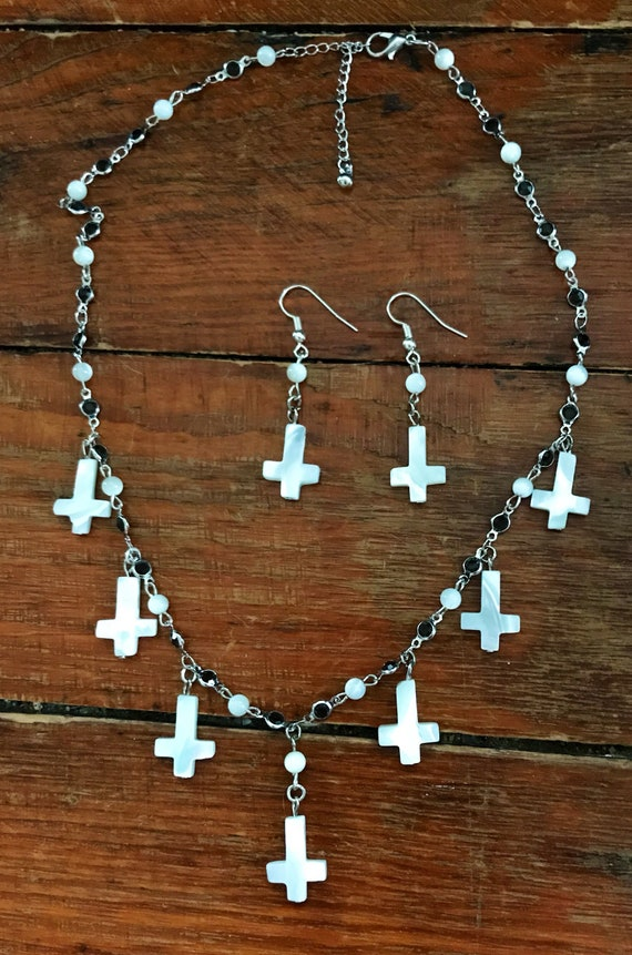 Inverted Crosses Necklace and Earrings
