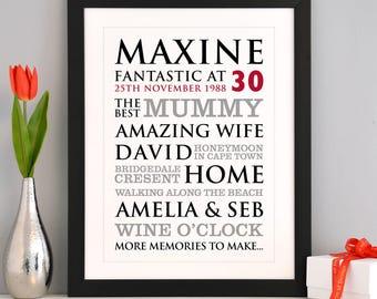 Personalised 30th Birthday Typographic Art Print