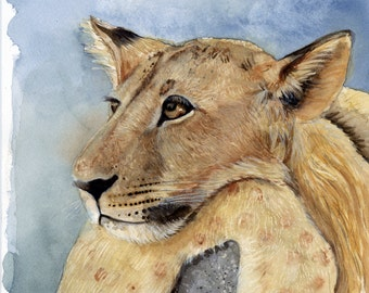 Lion Watercolor Painting, Lion Print, Wall Art, Lion Cub, Watercolor Painting, Lion Painting, Lion Wall Art, Lion Art