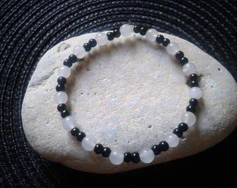 White Moonstone and Black Tourmaline Bracelet
