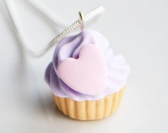 Cupcake-Herz-Halskette, Polymer Clay, Fimo, lila