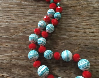 Manhattan - Bold Red, White and Aqua Handmade Statement Necklace