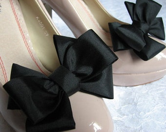 Black shoe bows Black shoe clips Black gift for her Black shoes Gift idea Black gift idea Gift for her Black bows Black bridesmiads gifts