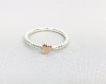 Rose gold heart - rose gold and silver - heart stacking ring - rose gold stacking ring  - 9 carat gold - stackable heart ring