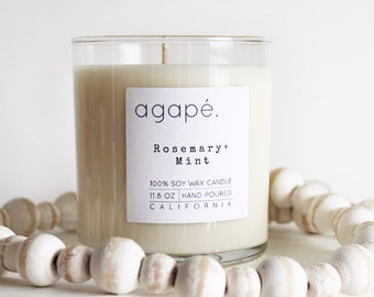 ROSEMARY + MINT • soy candle, rosemary candle, mint candle, spa candle