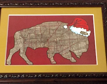 Christmas Buffalo Christmas Rustic 4x6 matted to 5x7