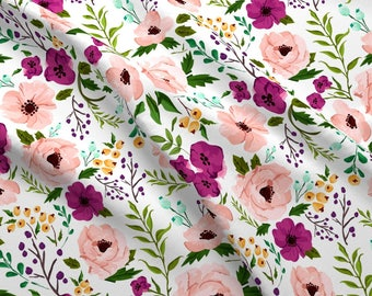 Pink Watercolor Flower Fabric - Josie Meadow Floral By Sweeterthanhoney - Girls Nursery Decor Cotton Fabric By The Yard With Spoonflower