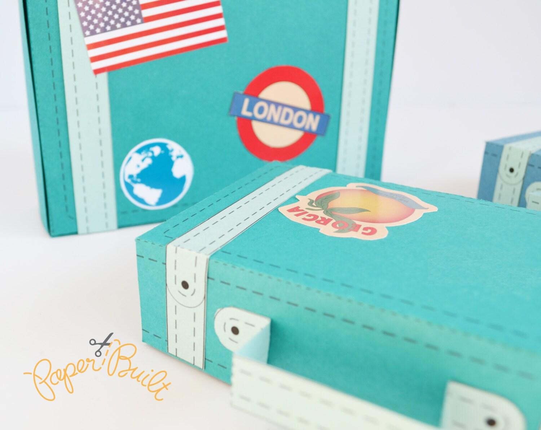 Vintage Suitcase Favor Box - Template, Favor Box, Party Favor, Gift ...