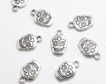 Silver Sugar Skull Charm - 10 pieces (194S)