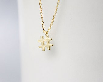 Tiny Gold Hashtag Pendant Necklace. Dainty Hashtag Necklace. Simple and Modern Necklace.