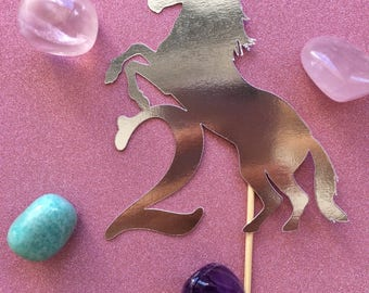 Unicorn cake topper - custom made - any age/any name