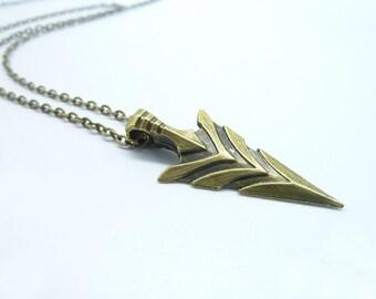 Promotion-1PCS Bronze Tribal Arrow Necklace - Large, Native-American Inspired Charm, Arrowhead Pendant, Dainty Arrowhead Necklace CN8036-2
