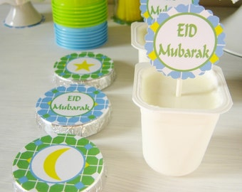 Printable Eid Mubarak Party stickers - Eid Party Cupcake toppers - Eid stickers - Printables - Instand Download - Happy with Printables
