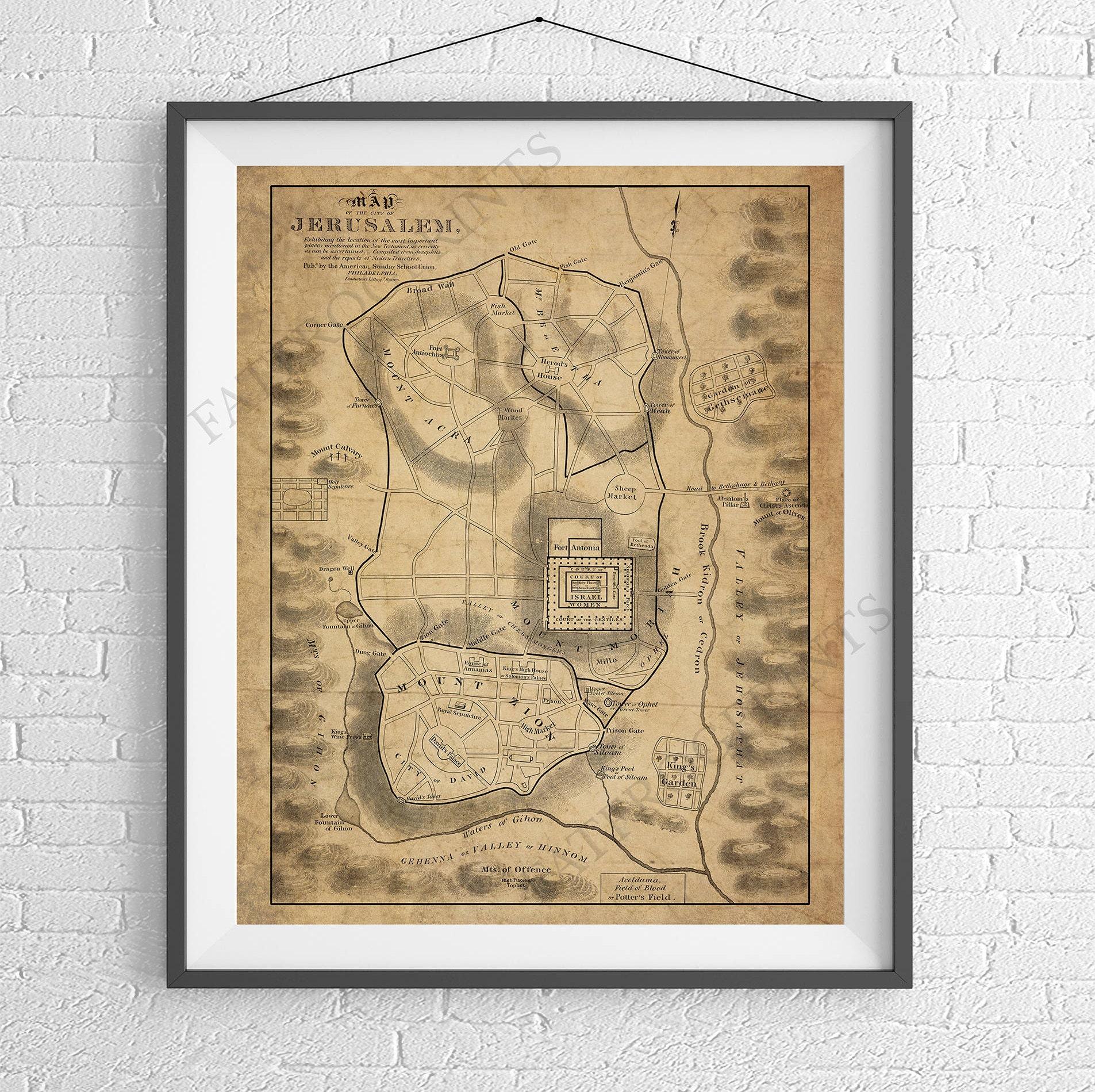 Jerusalem Map Print, Bible New Testament Map, Biblical Map ...
