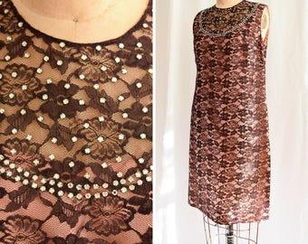1960s Dress | Celeste | Vintage 60's LBD Lace Sleeveless A-Line Shift Rhinestones Peach Pink Lining Illusion Cocktail Dress Party Dress M/L