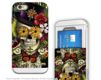 New Orleans Voodoo Skull iPhone 6 6s Card Holder Case with Sugar Skull Art - Baron in Bloom - Wallet Apple iPhone 6s Case