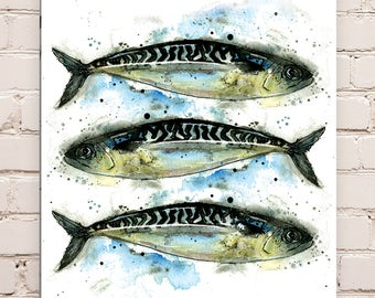 Wood Mounted Mackerel Print