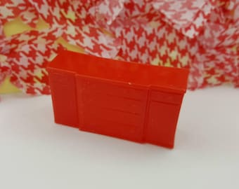 Marx Dining room  Sideboard  Toy Dollhouse Traditional Style Red Soft  plastic