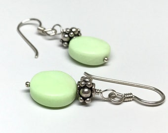 Light Green and Silver Earrings, Green and Silver Earrings, Chrysoprase and Bali bead Earrings