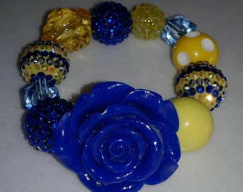 Yellow and blue chunky bead bracelet