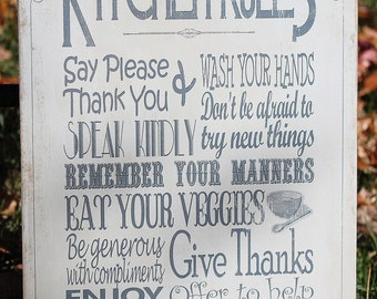 """Customizable Wood """"Kitchen Rules"""" Sign - Perfect Gift for Mom or Grandma for Mother's Day!"""