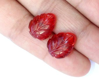 2 Pcs 1 Pair 15x11mm Red Quartz Hand Carved On Leaf Briolette / Carved Gemstone / Engraved Beads Select Drill Hole / CQ109