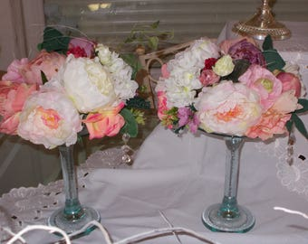 a centerpiece flowers shabby chic cottage chic vintage