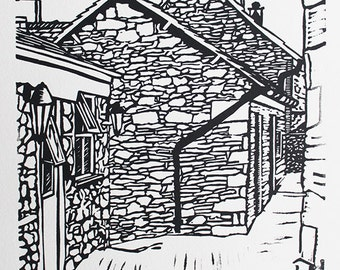 Stable Cottage - original handmade linocut