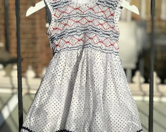 Polka dot dress, White dress, Hand smocked  dress, Girls dress, Size 1-2 years, 3-4 years