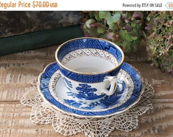 ON SALE Antique Booths Real Old Willow Tea Cup and Saucer Set, French Country, Cottage Style, Shabby Chic, Hollywood Regency, Bone China