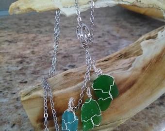 Genuine ombre green sea glass necklace