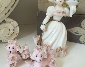 Vintage Spaghetti Poodles with Bouquet Girl