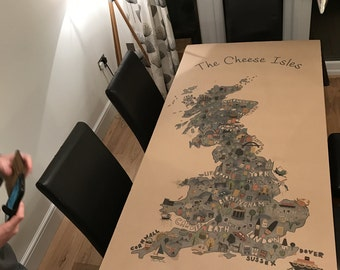 Cheese Isles personalised recycled Kraft paper, printed table cloth